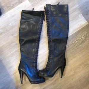 Leather Nine West over the knee boots